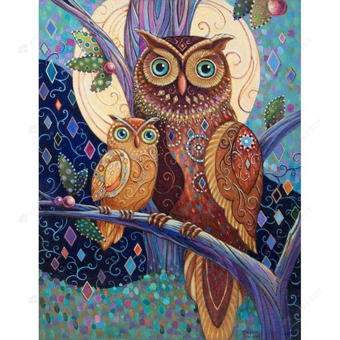 Diamond Painting-5D Full Round Drill Mother Owl And Baby Owl