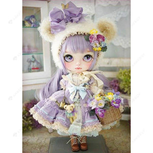 Diamond Painting-5D Full Round Drill Girl Doll In Purple