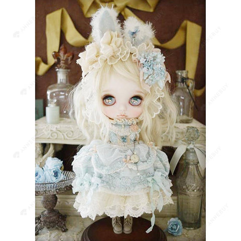 Diamond Painting-5D Full Round Drill lovely White Doll
