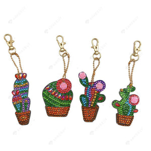 DIY Diamond Keychain-4pcs/set Full Drill Crystal Rhinestones Cactus