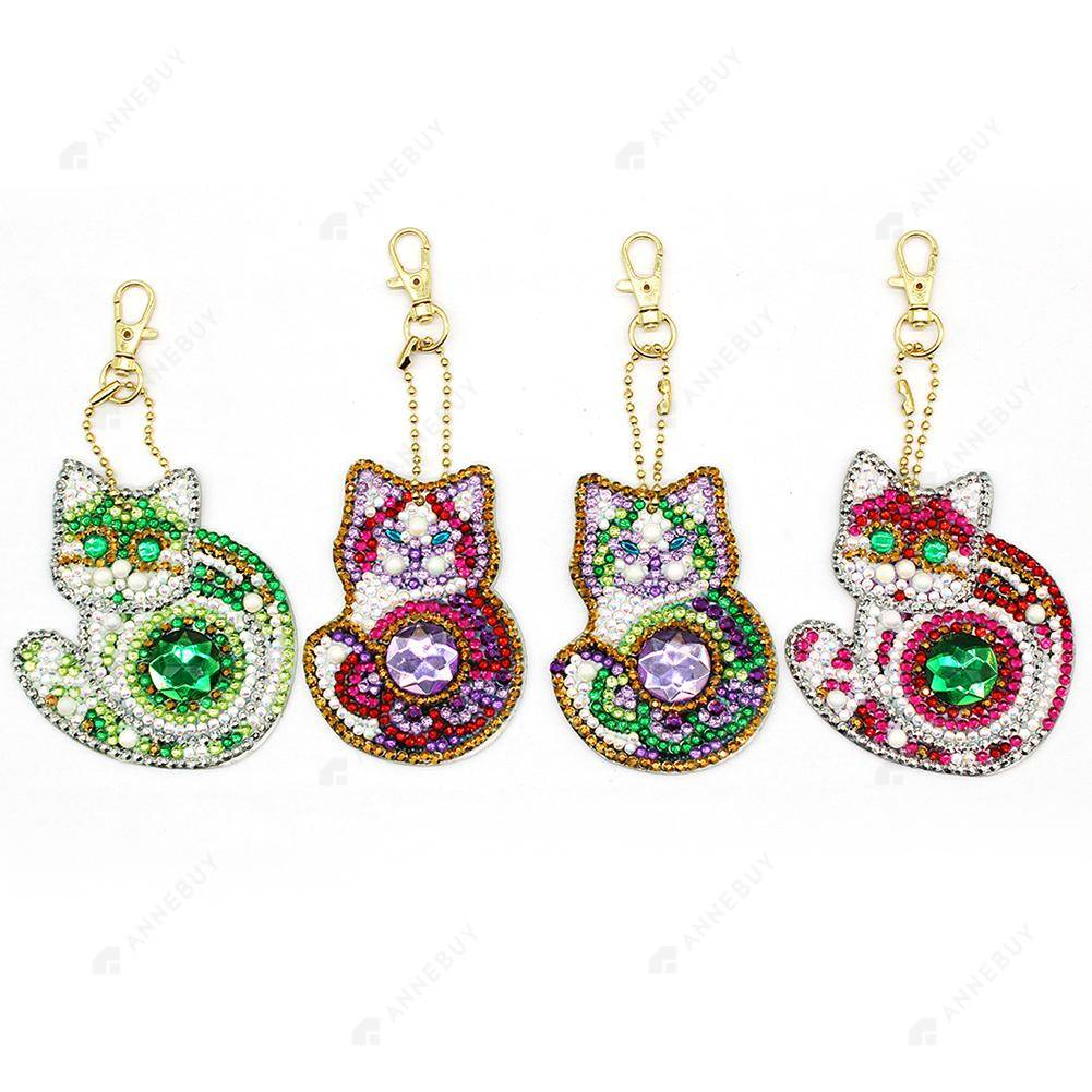 DIY Diamond Keychain-4pcs/set Full Drill Crystal Rhinestones Lovely Cat