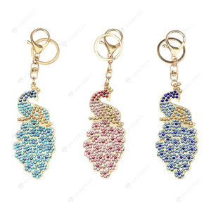 DIY Diamond Painting Keychain-3pcs/set Peacock