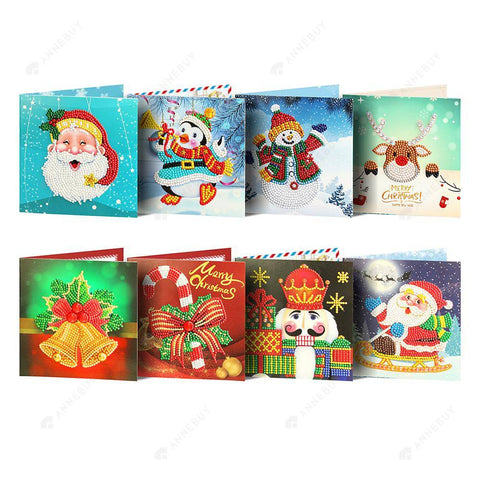 8pc 5D DIY Diamond Painting Greeting Card Special-shaped Birthday Festival Gift