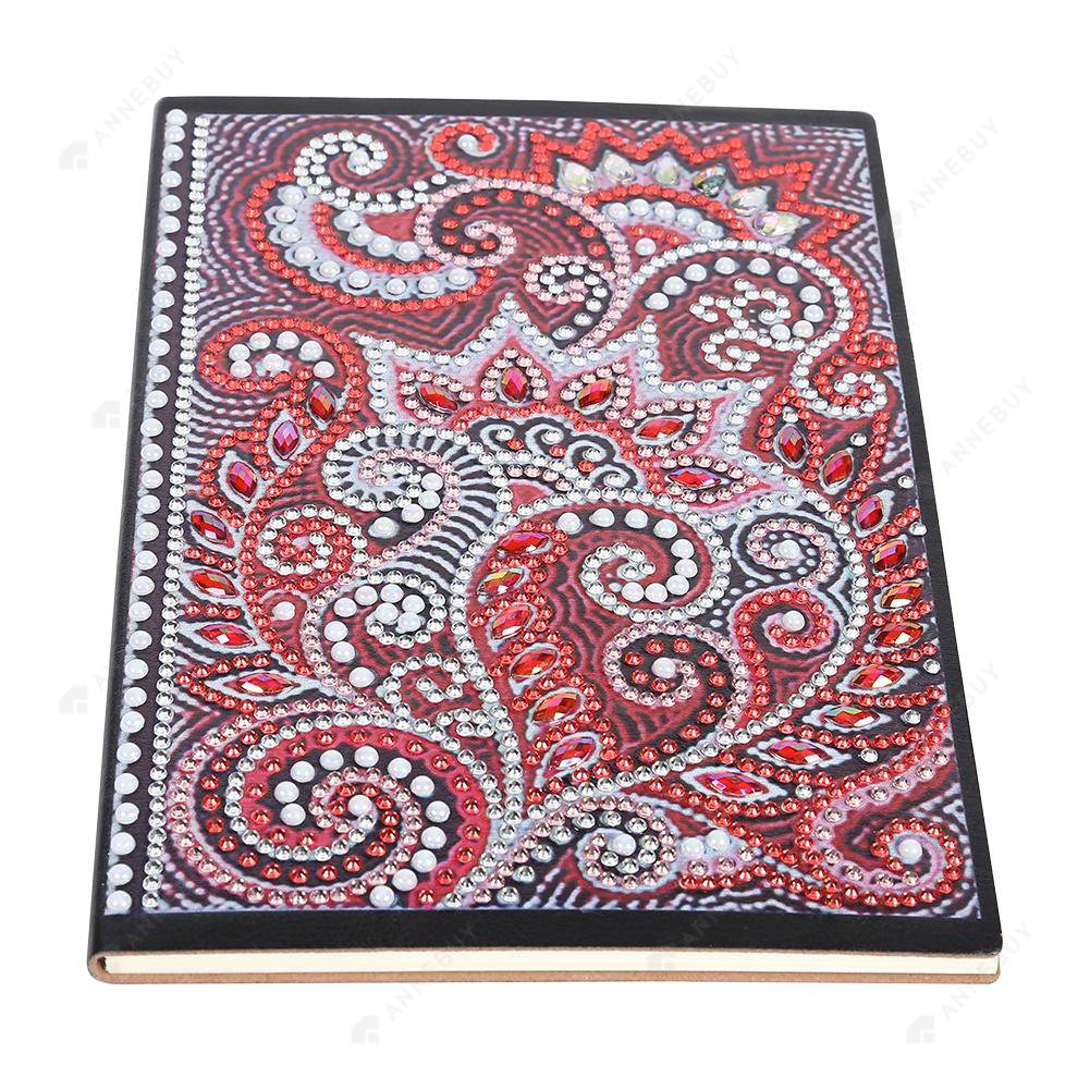 DIY Crystal Rhinestones Diamond Painting Red Abstract Flower Notebook