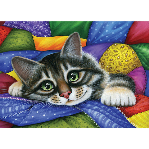 Diamond Painting-5D Full Square Drill Colorful Cat
