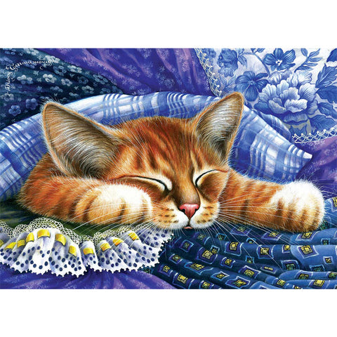 Diamond Painting-5D Full Round Drill Sleeping Cat