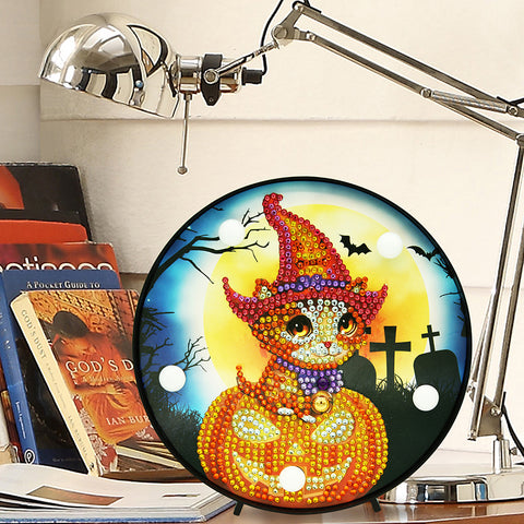 DIY Diamond Painting LED Lamp Crystal Rhinestone Halloween Room Decor