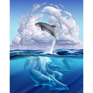 Diamond Painting-5D Full Round Drill Jumping Dolphin