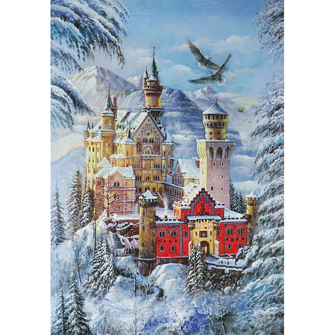 Diamond Painting-5D Full Round Drill Cartoon Castle in Snow