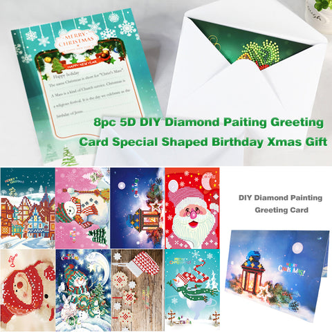 8pcs 5D DIY Drill Diamond Painting Greeting Card Birthday Party Gifts