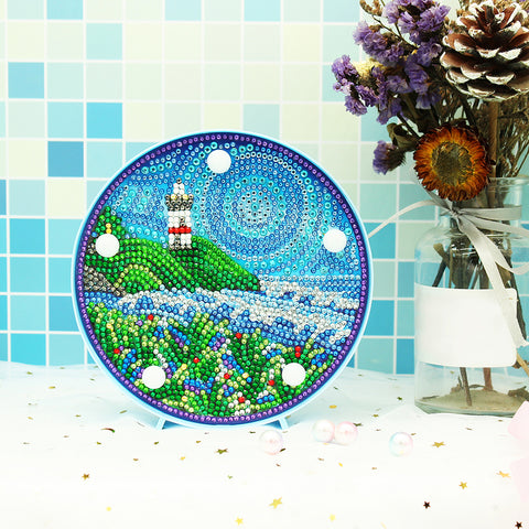 DIY Diamond Painting LED Lamp Crystal Rhinestone Landscape Room Decor