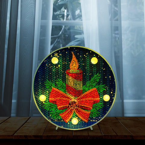 DIY Diamond Painting LED Lamp Crystal Rhinestone  Christmas Candle Room Decor