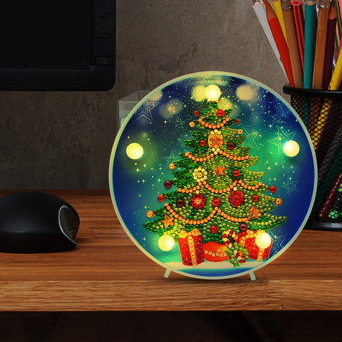 DIY Diamond Painting LED Lamp Crystal Rhinestone Christmas Tree Room Decor