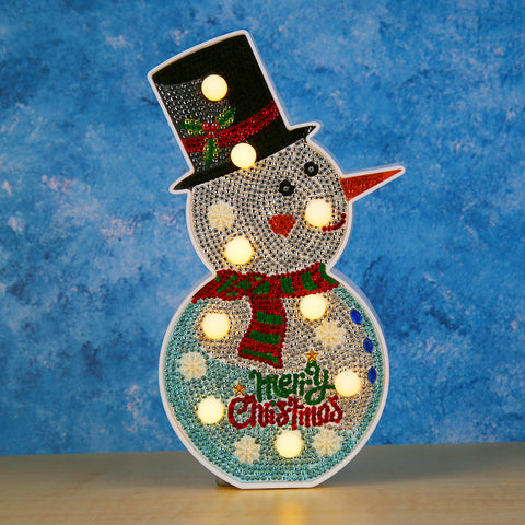 DIY Diamond Painting LED Lamp Crystal Rhinestone Christmas Snowman Room Decor