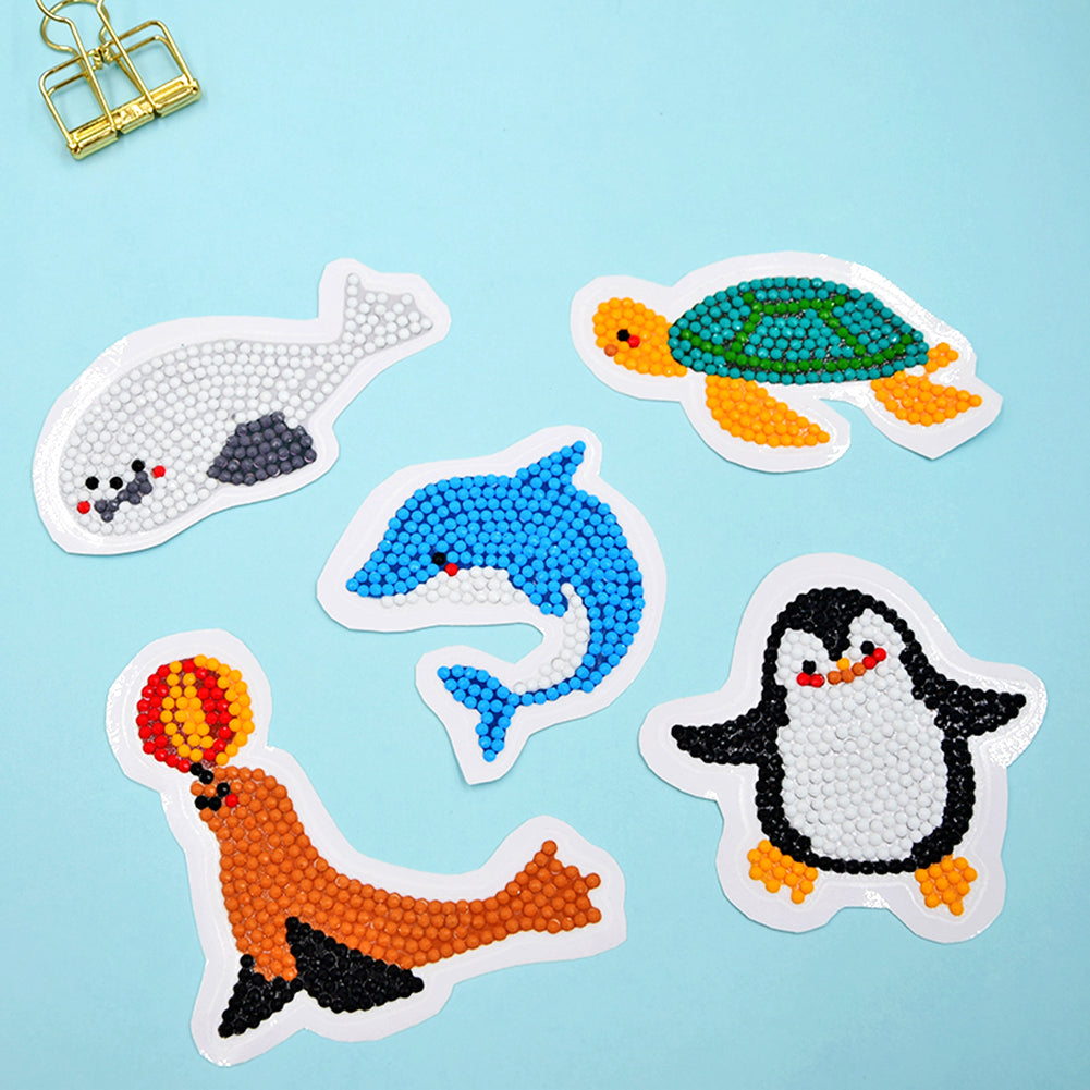 DIY Full Drill Round Sea Animal Diamond Painting Children Sticker Gift