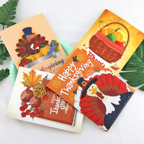 4pcs 5D DIY Drill Diamond Painting Greeting Cards Thanksgiving Party Gifts