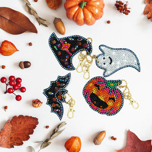 DIY Diamond Painting Keychain-4pcs/set Halloween