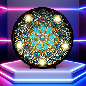 DIY Diamond Painting LED Lamp Crystal Rhinestone Lotus Flower Room Decor