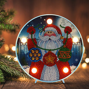 DIY Diamond Painting LED Lamp Crystal Rhinestone Santa Claus Room Decor