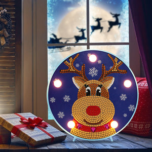DIY Diamond Painting LED Lamp Crystal Rhinestone Sika Deer Room Decor