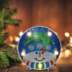 DIY Diamond Painting LED Lamp Crystal Rhinestone Snowman Room Decor