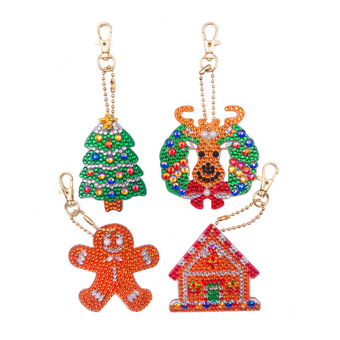 DIY Diamond Painting Keychain-4pcs/Set Xmas Tree Bag Keychain Jewelry Gift