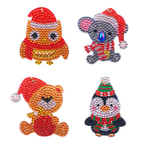 DIY Diamond Painting Keychain-4pcs/Set ute Animal Bag Keychain Jewelry Gift