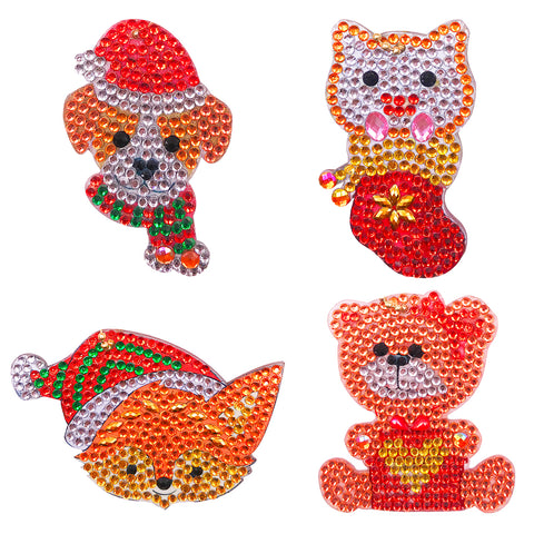 DIY Diamond Painting Keychain-4pcs/Set Animal Bag Keychain Jewelry Gift