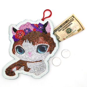 DIY Special Shaped Diamond Painting Cat Wallet Embroidery Coin Purse Gifts