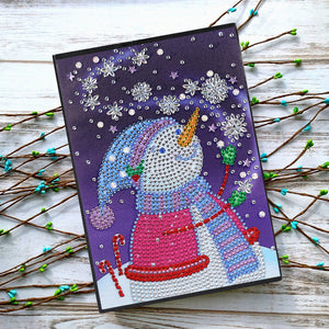 DIY Crystal Rhinestones Diamond Painting Christmas Snowman Notebook