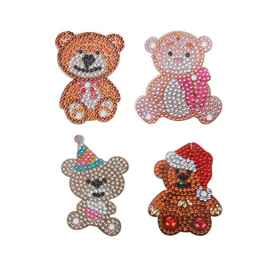 DIY Diamond Painting Keychain-4pcs Bear Cute