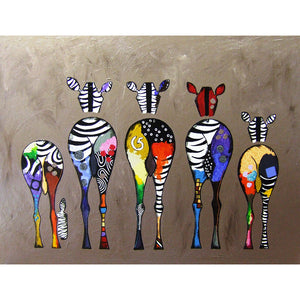 Diamond Painting-5D Full Round Drill Colorful Zebra