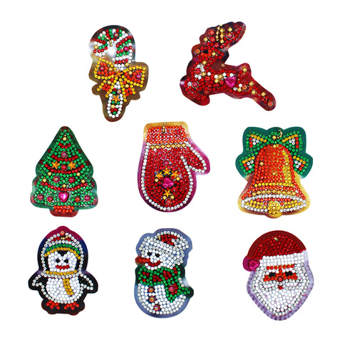 DIY Diamond Painting Keychain-8pcs/set Christmas Keychain Key Ring Gift