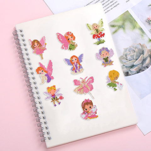 DIY Full Drill Round Cartoon Fairy Diamond Painting Puzzle Children Sticker