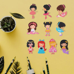 DIY Full Drill Round Cartoon Girls Diamond Painting Puzzle Children Sticker