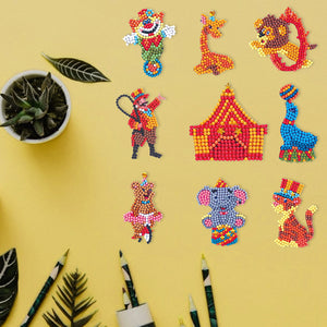 DIY Full Drill Round Cartoon Circus Troup Diamond Painting Puzzle Stickers