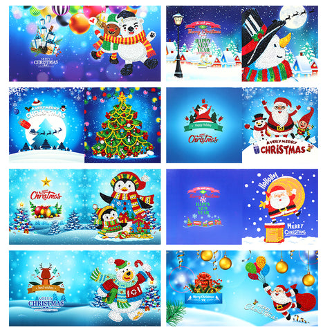 8pcs 5D DIY Partial Special Drills Diamond Painting Xmas Cards Party Gifts