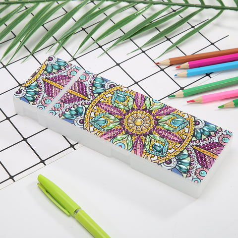 DIY Mandala Special Shaped Diamond Painting Students Pencil Storage Case