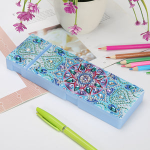 DIY Mandala Special Shaped Diamond Painting 2 Grids Pencil Storage Box Gift