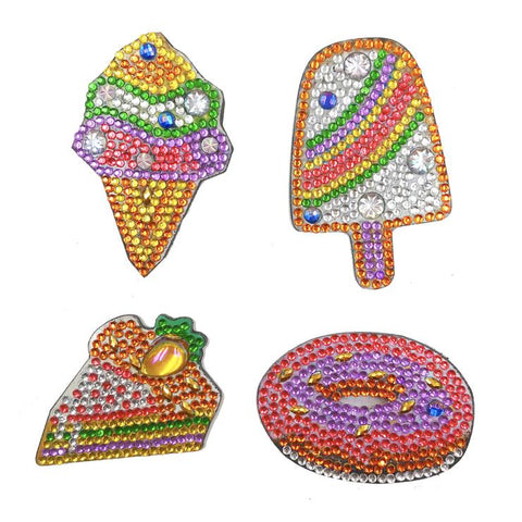 4pcs DIY Full Drill Special Shaped Ice Cream Diamond Painting Fridge Magnet