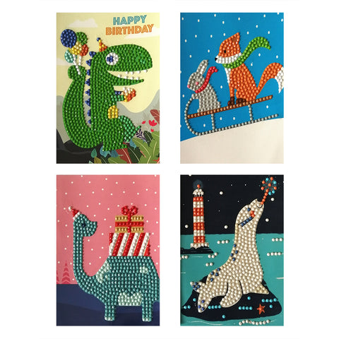 4pcs 5D DIY Drills Diamond Painting Happy Birthday Mosaic Cards Party Gifts