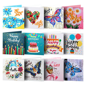 12pcs Diamond Painting Greeting Card Special Shape Embroidery for Birthday