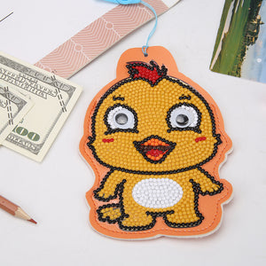 DIY Diamond Painting Leather Bus Card Hanging Bag ID Card Holder (Chicken)