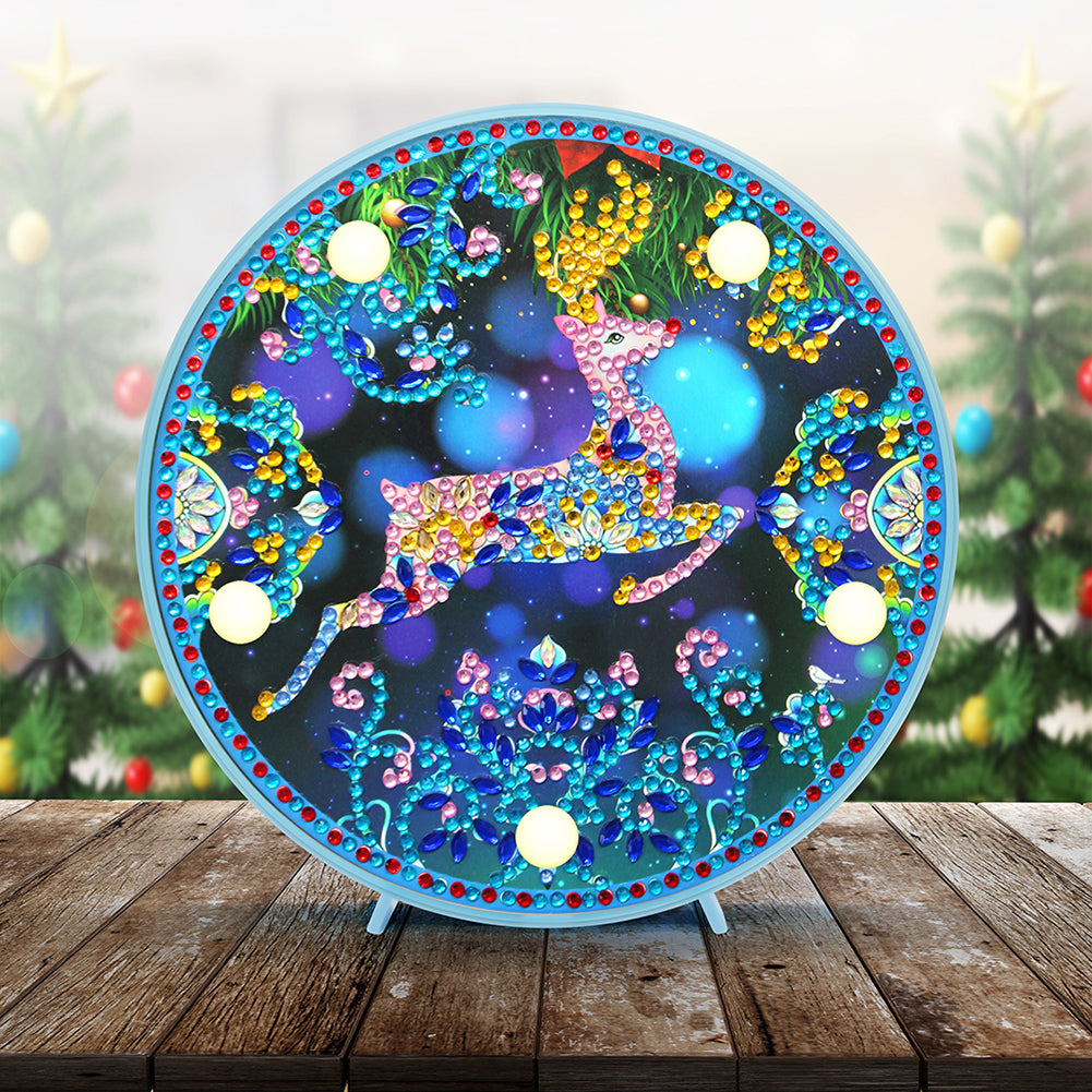 DIY Diamond Painting LED Lamp Crystal Rhinestone Elk Room Decor