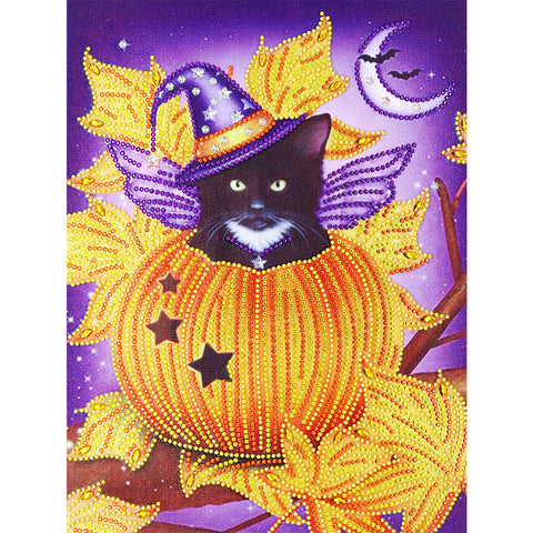 Diamond Painting-DIY Crystal Rhinestone Pumpkin Cat