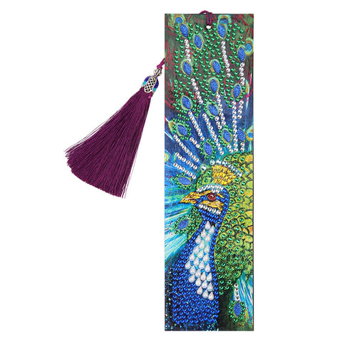 DIY Peafowl Special Shaped Diamond Painting Leather Tassel Bookmark Gift