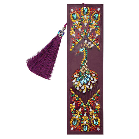 DIY Peafowl Special Shaped Diamond Painting Leather Bookmark with Tassel
