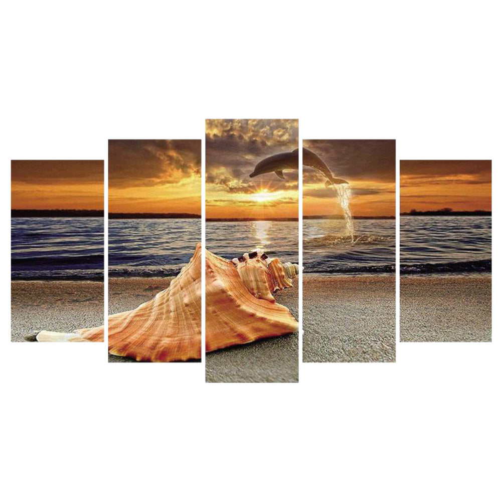 Diamond Painting-5D Full Round Drill 5pcs Painted Seaside Sunse