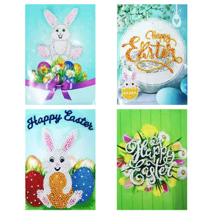 4pcs 5D DIY Drills Diamond Painting Greeting Cards Easter Party Gifts
