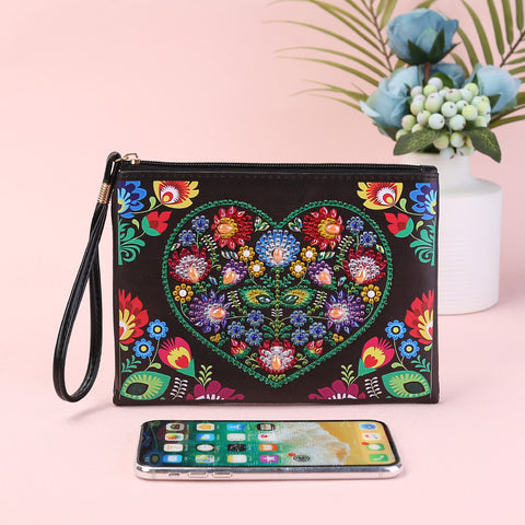 DIY Love Flower Special Shape Diamond Painting Wristlet Clutch Women Wallet